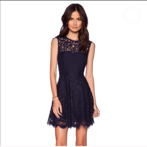 Guess Full Lace Navy Blue A Line Dress Nwot 4